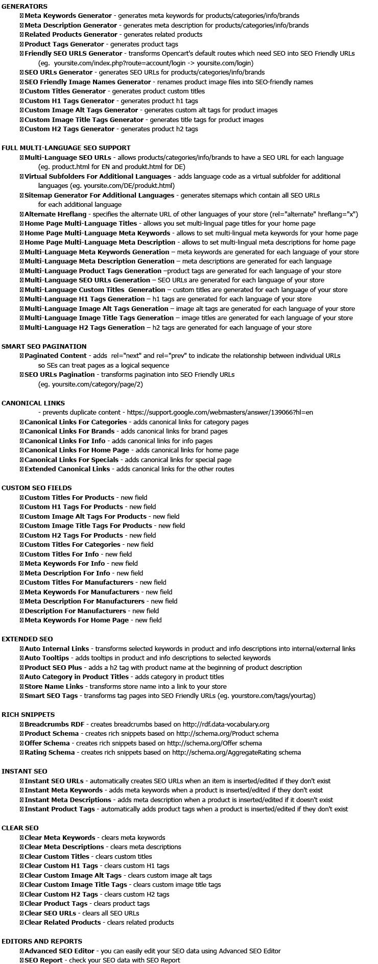 Opencart SEO Pack PRO v_8.2